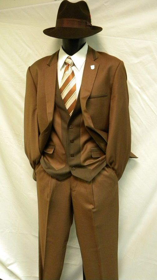 1920s Style Suit by Stacy Adams Brown 3 Piece 3887-068