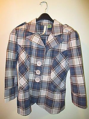 VTG-La-Classe-Couture-Blazer-Jacket-Ladies-Small-Tailor-Fitted-European-Plaid