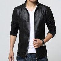 Wish | 2015 new male male male jacket coat collar stitching leather jacket