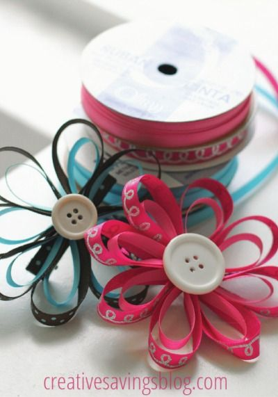 Use simple ribbon and buttons to make colorful DIY flower hair bows for back-to-school.