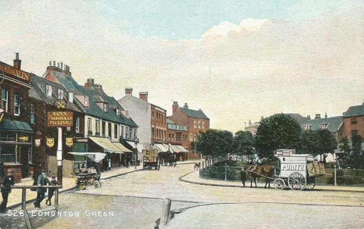 Hand-coloured picture of Edmonton Green from the low-level station looking north ca. 1895, c/o Pete Stone