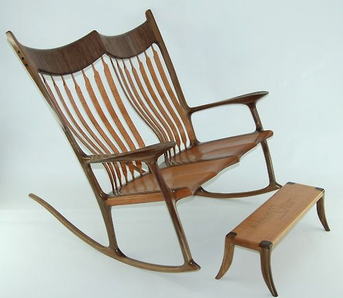 this custom double wooden rocking chair built by paul lemiski of canadian woodworks this chair made a wonderful wedding gift the contrasting woods
