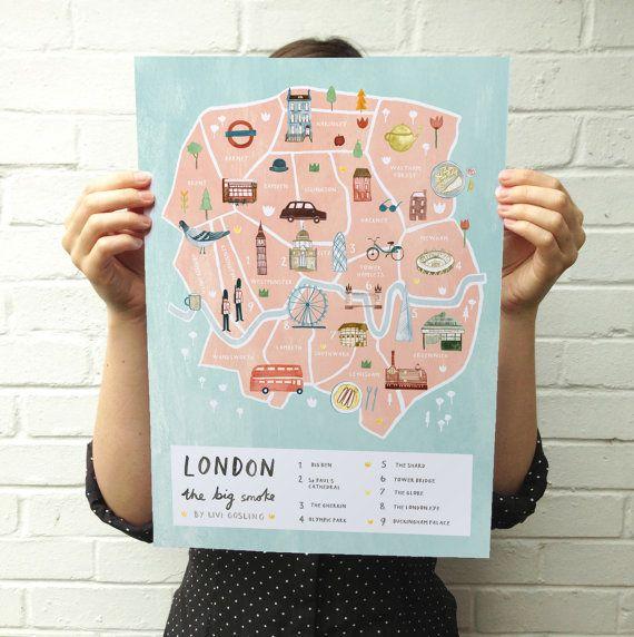 Londres ilustran arte cartel británico de mapa - impresión de Londres - ciudad mapa  ............................................................................................................................  Detallado mapa ilustrado impresión de Londres, Inglaterra. Con el Big Ben, St Paul, el London Eye, Globe de Shakespeares, el fragmento, el pepinillo, Tower Bridge, el Parque Olímpico y por supuesto, el Palacio de Buckingham! Todos estos elementos hacen de este el cartel de Londres…