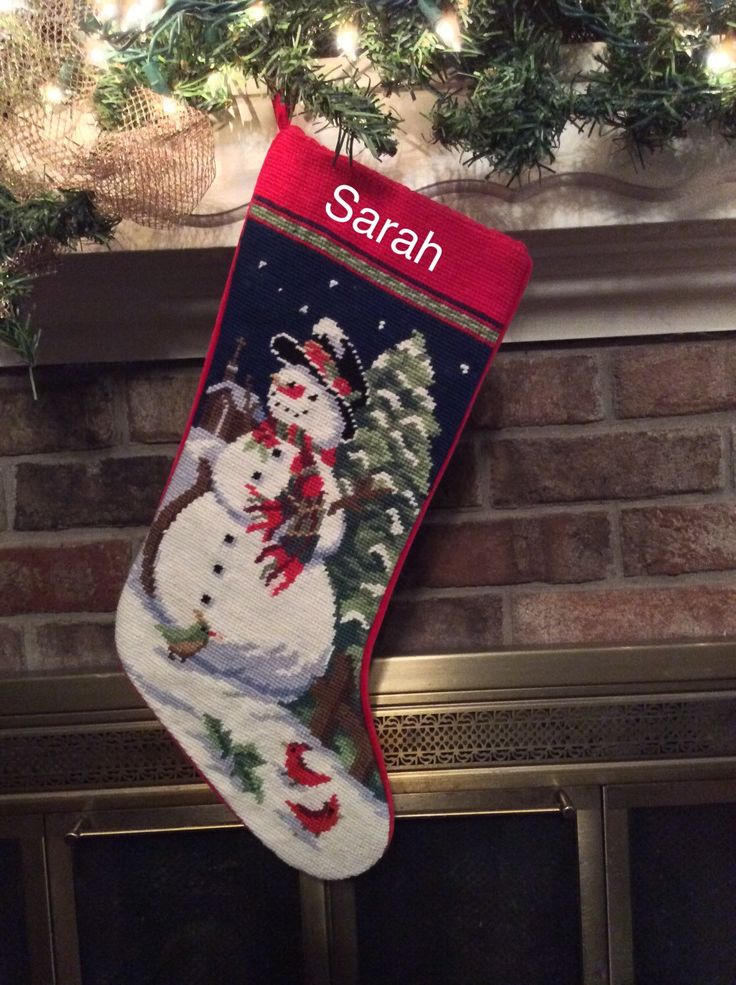 Snowman Personalized Needlepoint Christmas Stocking, Christmas stockings by BABarkerGifts on Etsy https://www.etsy.com/listing/242225827/snowman-personalized-needlepoint