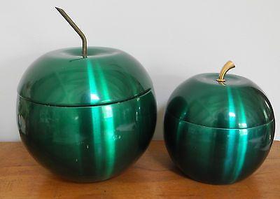 2 Vintage Retro Anodised Aluminium Green Apple Ice Bucket
