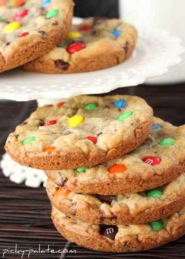 Bakery-Style M&M Chocolate Chip Cookies: Baked in a muffin top pan so they're nice 'n thick.