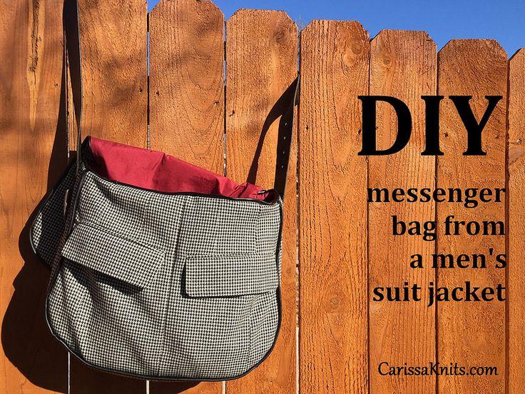 DIY Messenger Bag from a men's suit jacket | CarissaKnits.com