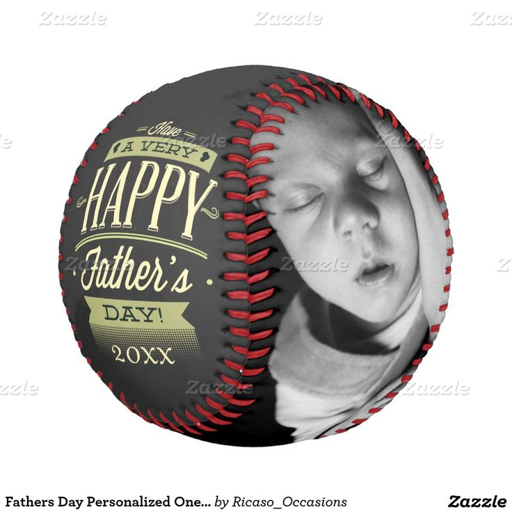 Keepsake personalized baseball with two photos, perfect Father's Day gift for new Dad ... from Ricaso Occasions at Zazzle