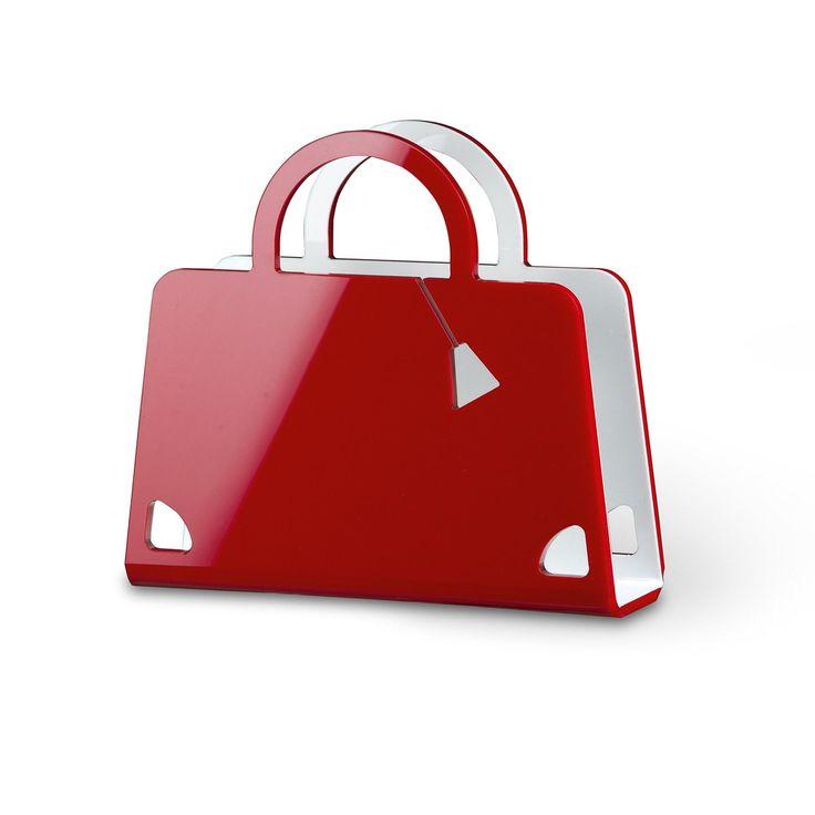 Portariviste Shop Bag in plexiglas trasparente 40x10x36 hcm Rosso | Vesta | Stilcasa.Net: portariviste