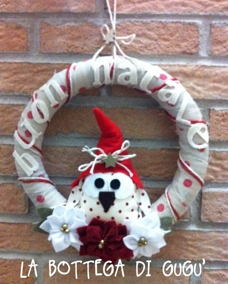 Cucito creativo de la bottega di gug ghirlanda fuoriporta natalizia con gufetto stelle di - Pinterest natale ...