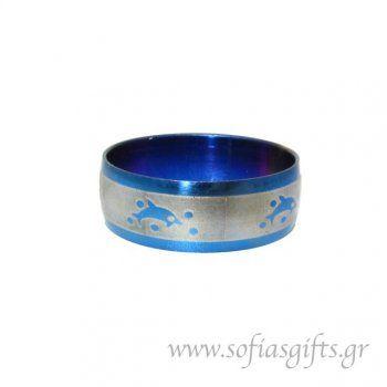 Ανδρικό δαχτυλίδι metal blue δελφίνι