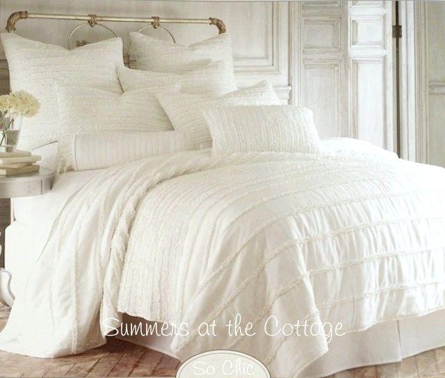 French Vanilla Creamy Ivory Pearl Ruffled Cottage Full