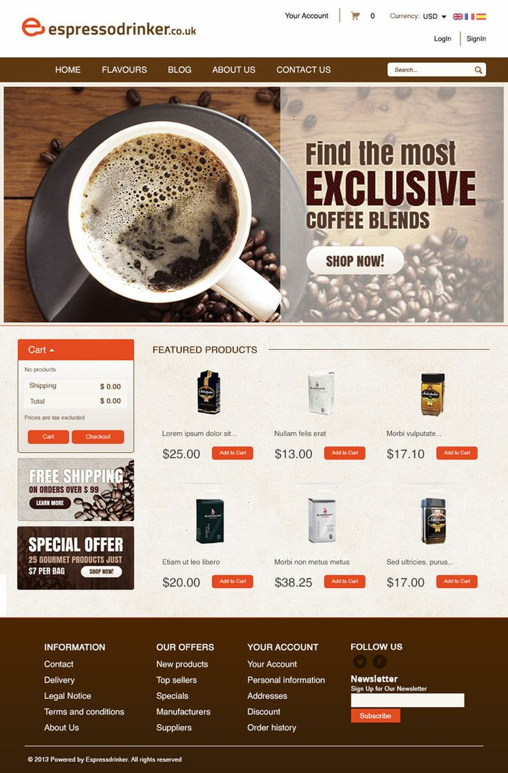 Home Page Design Coffe Shop