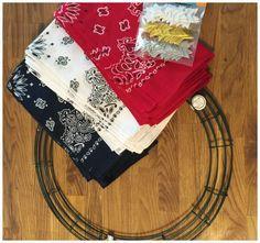 patriotic bandana wreath | Red, White and Blue Bandana Flag Wreath Craft Idea - iSaveA2Z.com