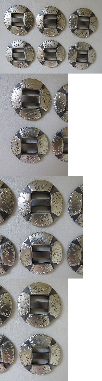 """Conchos 159019: New Handmade Robert Evans Silver Mounted Slotted Conchos Set Of Six 1 ¼"""" BUY IT NOW ONLY: $165.0"""