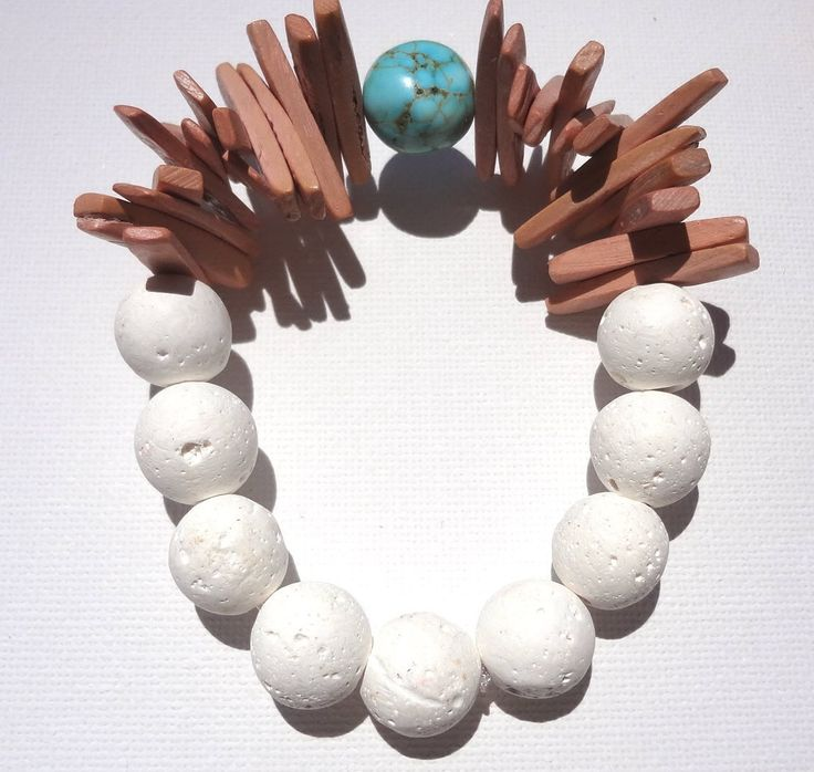 Women Beaded Bracelet Jewelry White Lavastone Turquoise Stone Wooden Beads Greek Ethnic Summer Beachwear Girl Natural Beads Gift Celebration by ArtArgo on Etsy