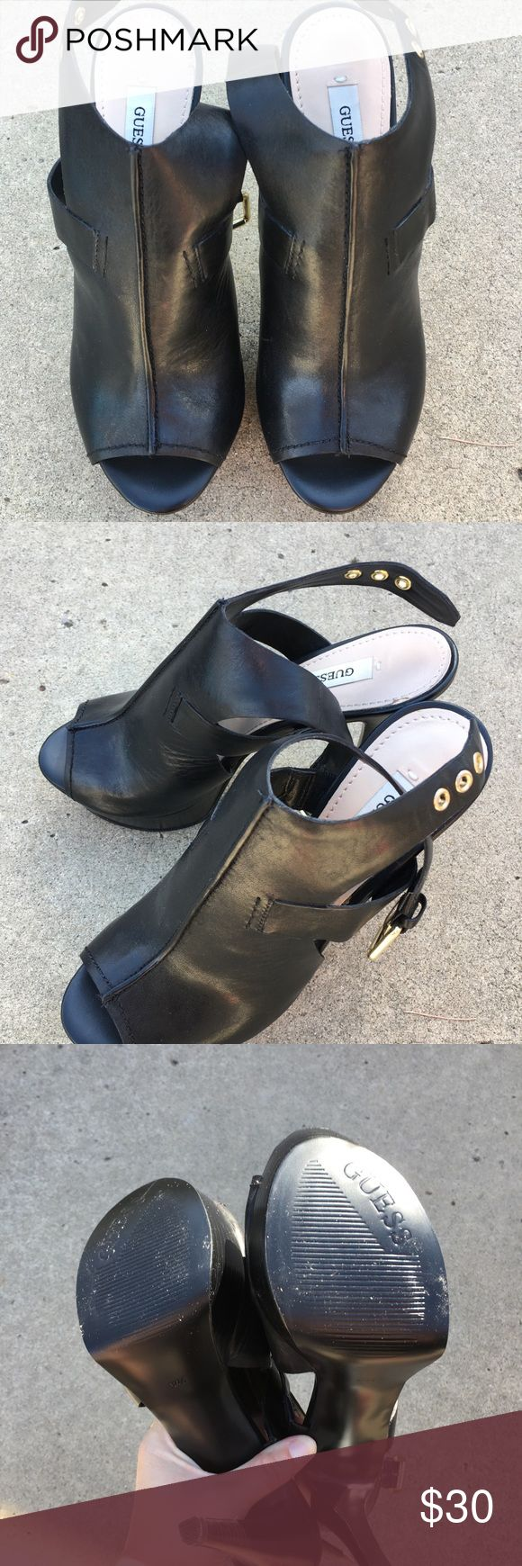 GUESS HEELS GUESS BLACK HEELS, IN GREAT CONDITION SIZE 6.5. BACK STRAP, HEEL IS ABOUT 5 INCHES Guess Shoes Heels