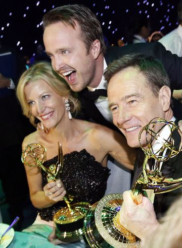 Anna Gunn, Aaron Paul and Bryan Cranston #BreakingBad #Emmys