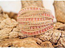 Erdbeer - Quarz  + rose-Goldnugget  Wickelarmband