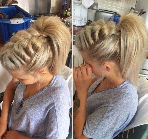 voluminous front braid and high ponytail top braid hairstyles, easy braids, kid braids, fashion braid