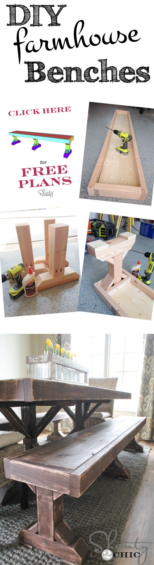 DIY Dining Table Benches - Free Plans at www.shanty-2-chic.com