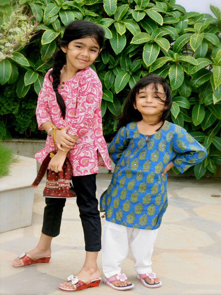 Pink & Blue Printed Cotton Kids Kurta Pyjama Set