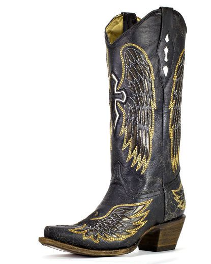 Women's Distressed Black Winged Cross Golden Inlay Boot - A1967