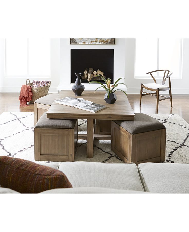 champagne cube coffee table with 4 storage ottomans created for macyu0027s - Macys Coffee Table
