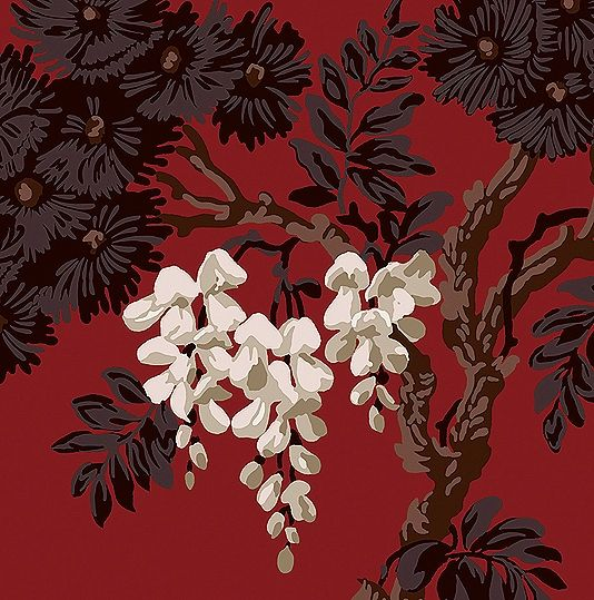 Wisteria Wallpaper A climbing wisteria print in black and taupe with white…