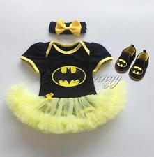 3PCS Infant Baby Girls Batman Romper Bodysuit Tutu Dress Headband Shoes Outfits