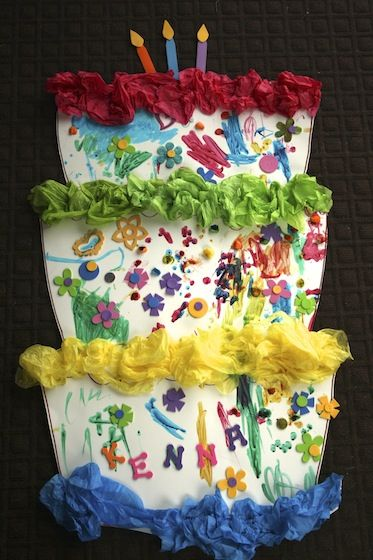3-foot tall birthday cake craft - makes a super birthday party activity or game for toddlers and preschoolers! - happy hooligans
