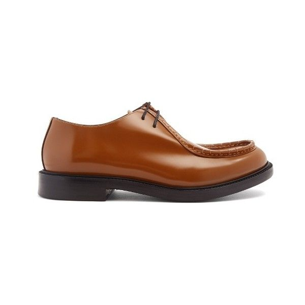 Calvin Klein 205W39NYC Stitch-detail lace-up leather derby shoes (€525) ❤ liked on Polyvore featuring men's fashion, men's shoes, mens black derby shoes, mens black lace up shoes, mens leather shoes, men's blucher shoes and mens derby shoes