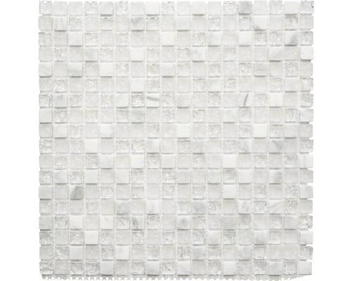 Glasmix mozaïek Chrystal XIC 1011 wit mix 30,5 x 30,5 cm