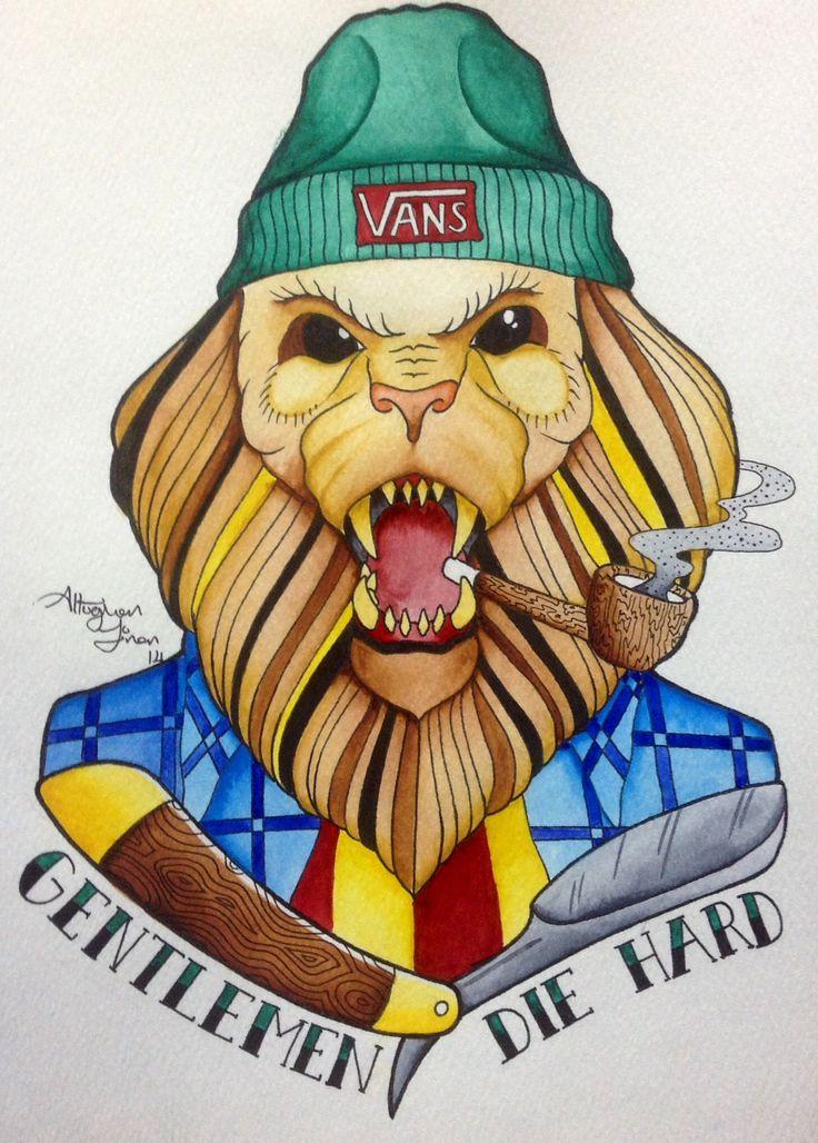 Gentlemen Die Hard ! Neotraditional lion, watercolor