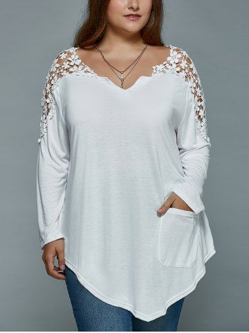 GET $50 NOW | Join RoseGal: Get YOUR $50 NOW!http://www.rosegal.com/plus-size-tops/plus-size-lace-spliced-asymmetric-729172.html?seid=8569013rg729172