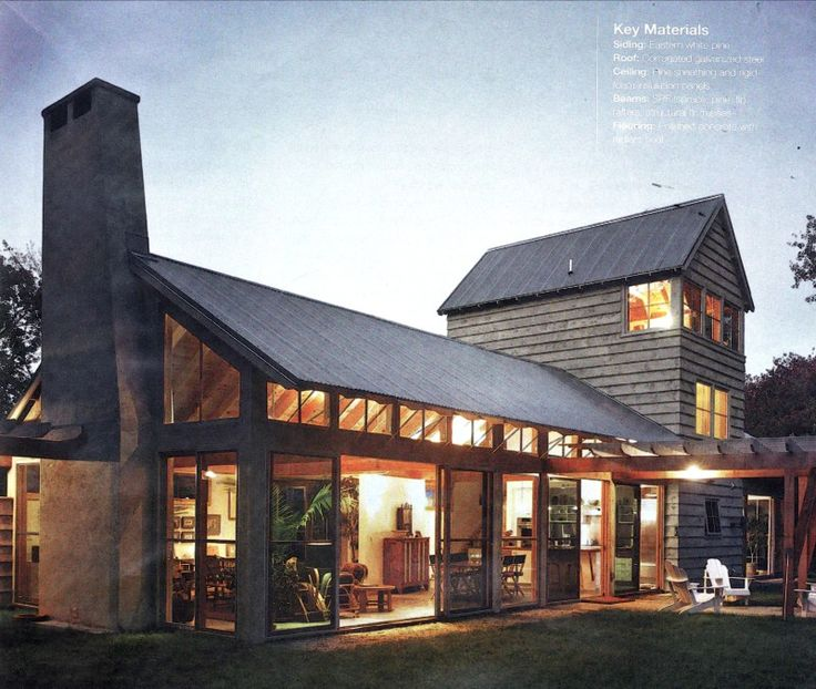Modern post-and-beam barn home, with a little feed store thrown in for good measure. I'd position the fireplace and chimney more central.