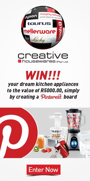 "1. Follow us on Pinterest www.pinterest.com/chwptyltd/ 2. Create your ""My Dream Kitchen"" Board 3. Pin products from our brands to your newly created board. 4. Share your Board with Creative Housewares. 5. One lucky Board will be chosen as the winner of the R 5000-00 worth of online vouchers. 6. Winner will be announced on the 11th of December 2015."