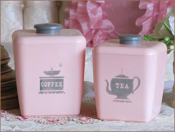 1000 images about cannister sets on pinterest tins vintage kitchen and bread boxes - Pink tea and coffee canisters ...