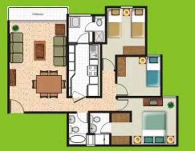 Planos de departamentos peque os de 70m2 a 80m2 planos for Diseno de apartamento de 4x8 mts