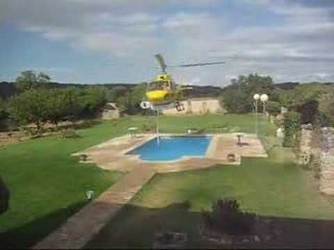 Helicopter over our pool