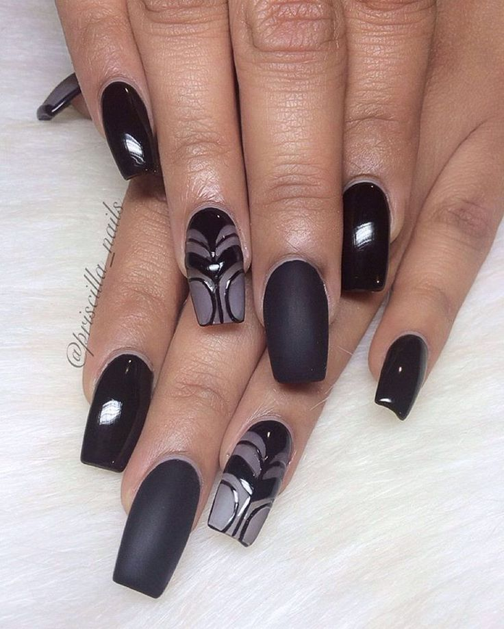 Black + Matte + Frosted Long Square Tip Nails #nail