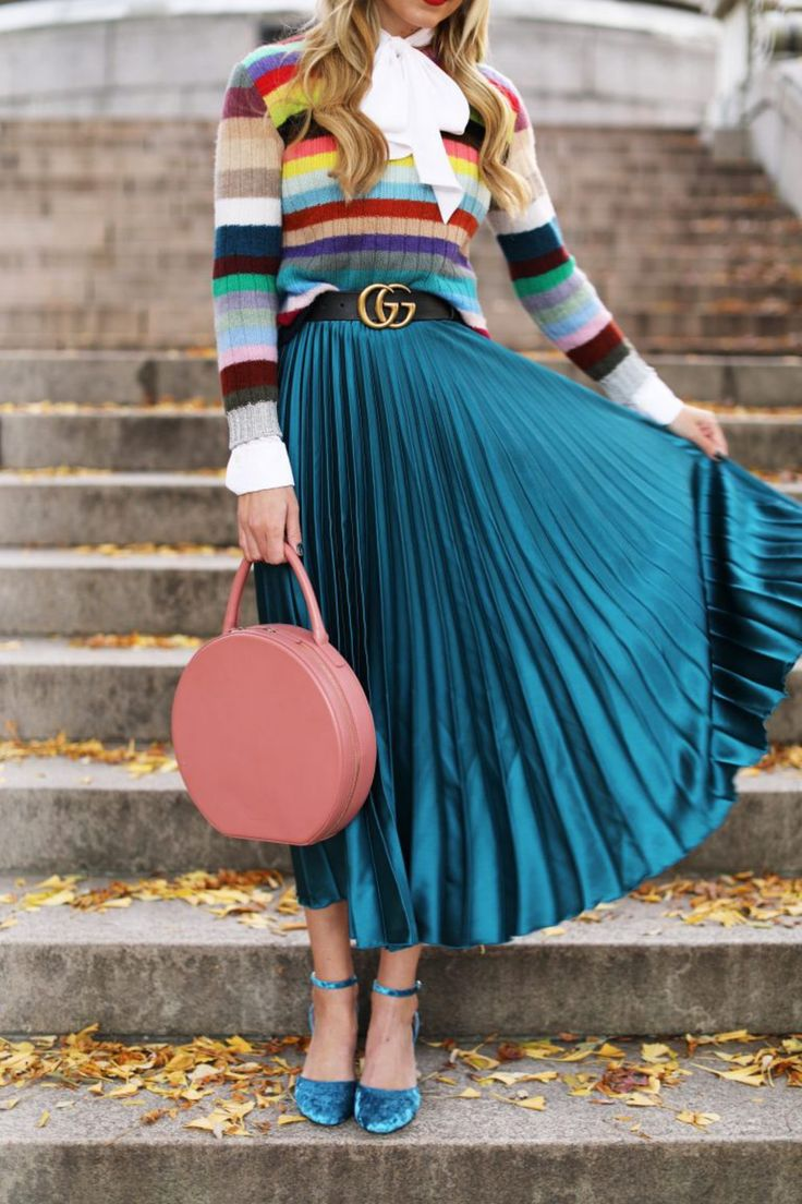 Is A Color Consultation Worth It? - $125 Cute Turquoise Blue Green Lined Maxi Skirt Teamed With Multicoloured Cute Sweater Pastel Pink Bag And Cool Velvet Heels