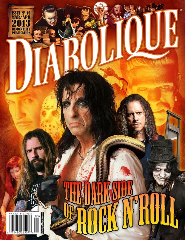 """Diabolique Magazine No. 15 (Mar/Apr 2013)  Our Rock and Horror issue of Diabolique takes you on a journey through the spectacle and madness of music-related horror entertainment. Including exclusive interviews with Rob Zombie, Kirk Hammett, and with a special focus on Skinny Puppy's Kevin """"Ogre"""" Ogilvie. Also featured in this issue is a rare exclusive interview with famous Korean genre filmmaker Chan-wook Park (Stoker, Sympathy for Mr. Vengeance)."""