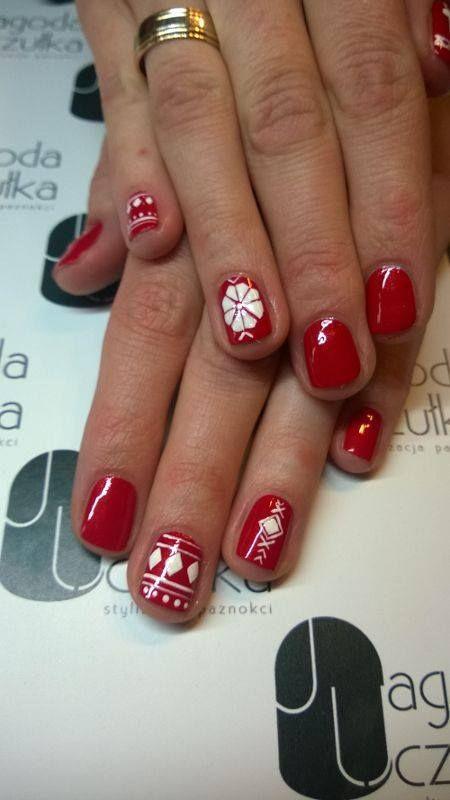 Red, winter, vinylux, manicure. Jagoda Uczułka stylizacja paznokci.