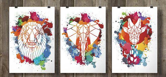 Set of 3 Mixed Geometric Safari Animal Prints on Cool Paint Splash Background, Faux Taxidermy, Children's Art. Origami Animals