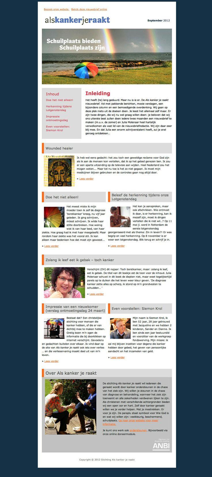 Ontwerp en realisatie van de tweemaandelijkse e-mail nieuwsbrief van www.alskankerjeraakt.nl