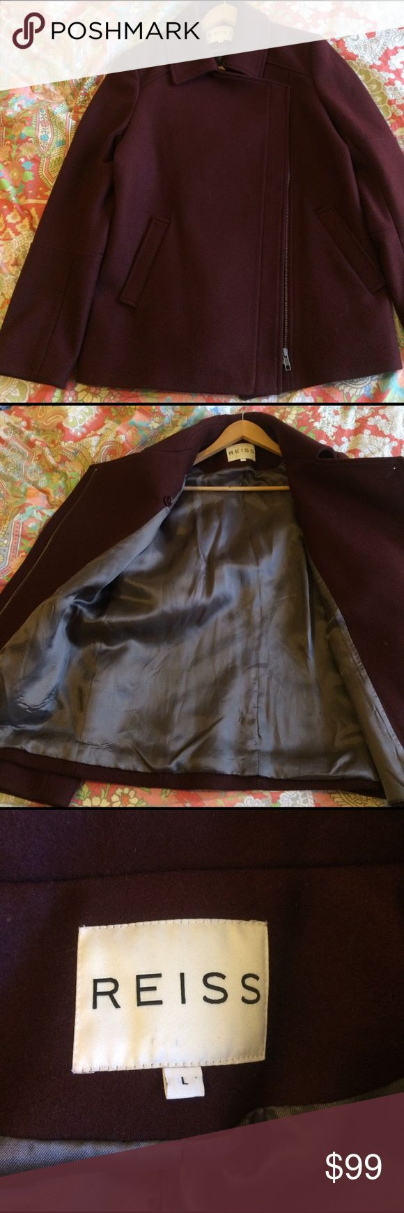 REISS LYNDON Wool wine color Coat Size L In excellent condition, it's just too big for me Reiss Jackets & Coats