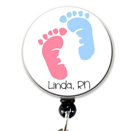 So I know a few nurses that this would make a GREAT gift for.... Name Badge Holder Pink and Blue Baby Feet  Personalized by kinkak, $7.75