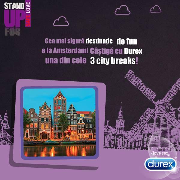 http://bit.ly/StandUpForSafeLove2014  Durex da startul la distractie cu 3 city-breaks la Amsterdam! Cumpara produse Durex, inscrie bonul fiscal in aplicatie si fa-ti planuri de vacanta! #PlaySafe