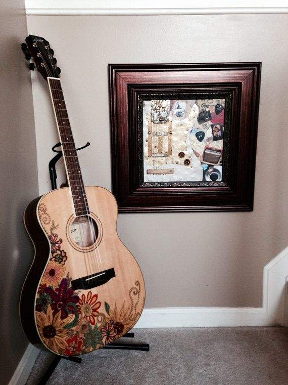 New Austin Acoustic Folk Guitar artfully decorated with Zentangle watercolor floral design.  For more music inspired art and musical gifts visit us at our online store- www.musicasartbysarah.etsy.com